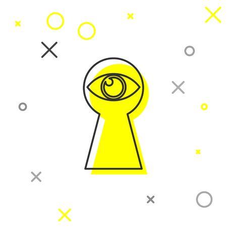 Grey Keyhole with eye line icon isolated on white background. The eye looks into the keyhole. Keyhole eye hole. Vector Illustration