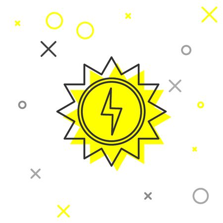 Grey Solar energy panel line icon isolated on white background. Sun with lightning symbol. Vector Illustration