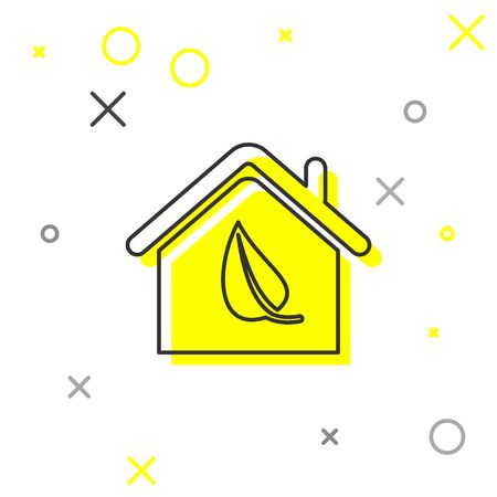 Grey Eco friendly house line icon isolated on white background. Eco house with leaf. Vector Illustration