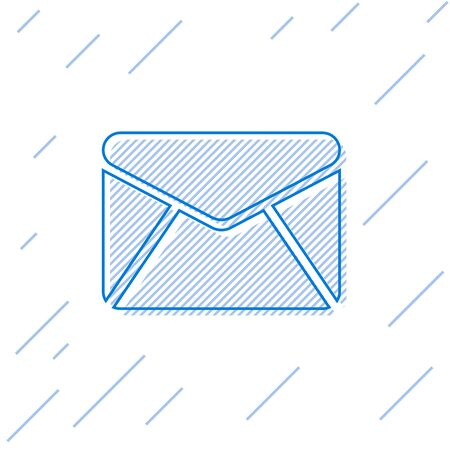 Blue Envelope line icon isolated on white background. Email message letter symbol. Vector Illustration Illusztráció