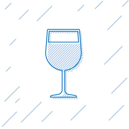 Blue Wine glass line icon isolated on white background. Wineglass icon. Goblet symbol. Glassware sign. Vector Illustration 일러스트