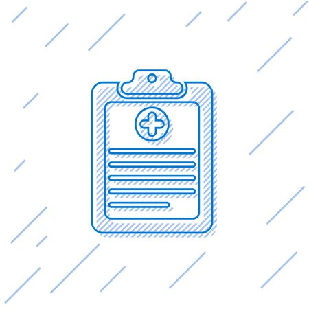 Blue Medical clipboard with clinical record line icon isolated on white background. Health insurance form. Document: prescription, medical check marks report. Vector Illustration