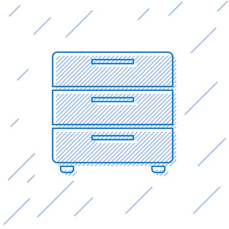 Blue Furniture nightstand line icon isolated on white background. Vector Illustration