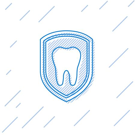 Blue Dental protection line icon isolated on white background. Tooth on shield logo icon. Vector Illustration
