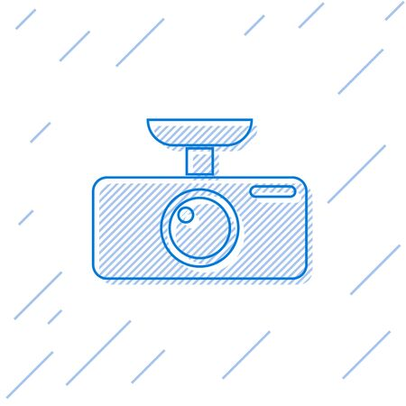 Blue Car DVR line icon isolated on white background. Car digital video recorder icon. Vector Illustration 向量圖像