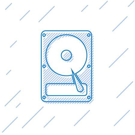 Blue Hard disk drive HDD line icon isolated on white background. Vector Illustration