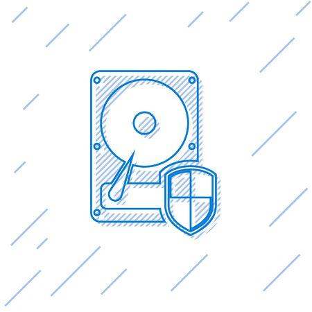 Blue Hard disk drive HDD protection line icon isolated on white background. Vector Illustration