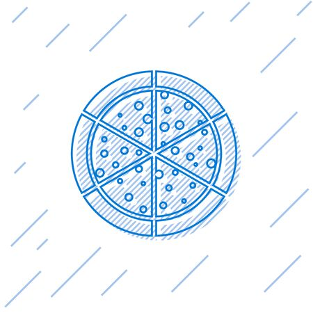 Blue Pizza line icon isolated on white background. Vector Illustration