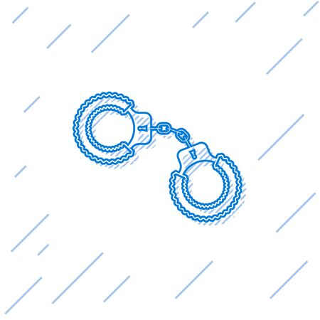 Blue line Sexy fluffy handcuffs icon isolated on white background. Handcuffs with fur. Fetish accessory. Sex shop stuff for sadist and masochist. Vector Illustration