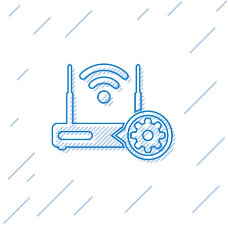 Blue Router and internet  signal and gear line icon isolated on white background. Adjusting app, service concept, setting options, maintenance, repair, fixing. Vector Illustration
