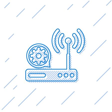 Blue Router and internet  signal and gear line icon isolated on white background. Adjusting app, service concept, setting options, maintenance, repair, fixing. Vector Illustration Imagens - 125884002