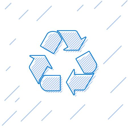 Blue Recycle symbol line icon isolated on white background. Circular arrow icon. Environment recyclable go green. Vector Illustration