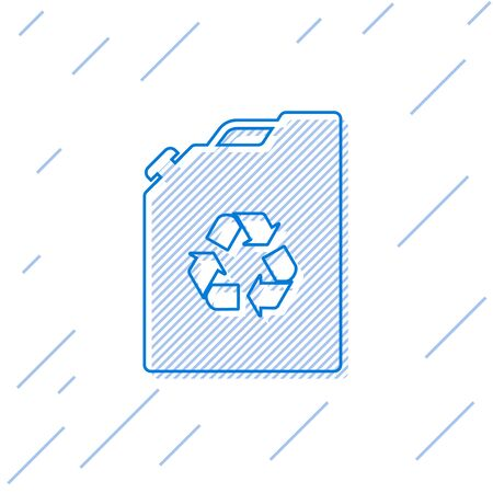 Blue Eco fuel canister line icon isolated on white background. Eco bio and barrel. Green environment and recycle. Vector Illustration Illustration