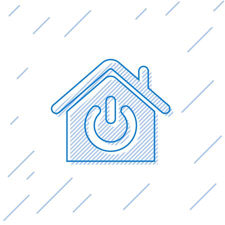 Blue Smart home line icon isolated on white background. Remote control. Vector Illustration