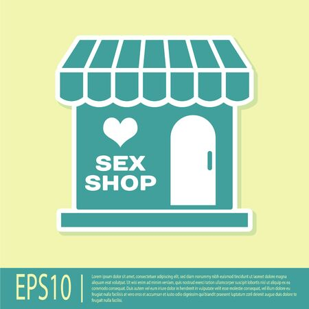 Green Sex shop building with striped awning icon isolated on yellow background. Sex shop, online sex store, adult erotic products concept. Vector Illustration