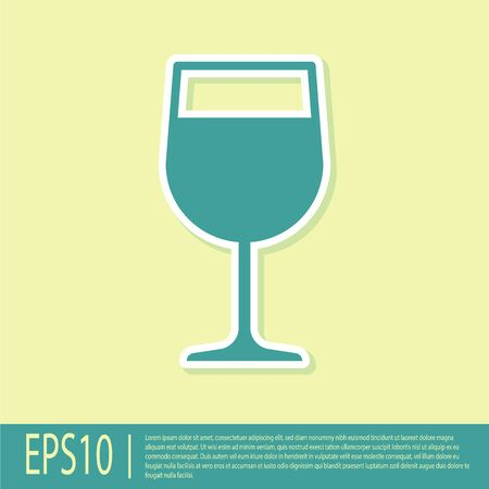 Green Wine glass icon isolated on yellow background. Wineglass icon. Goblet symbol. Glassware sign. Flat design. Vector Illustration