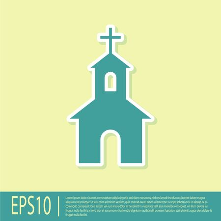Green Church building icon isolated on yellow background. Christian Church. Religion of church. Vector Illustration Illustration