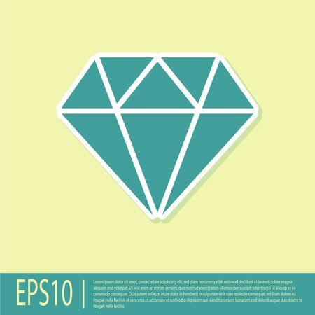 Zielony znak diamentu na białym tle na żółtym tle. Symbol biżuterii. Kamień szlachetny. Płaska konstrukcja. Ilustracja wektorowa