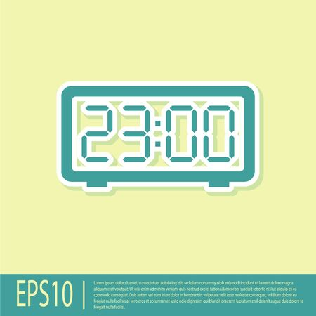 Green Digital alarm clock icon isolated on yellow background. Electronic watch alarm clock. Time icon. Flat design. Vector Illustration Illustration