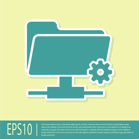Green FTP settings folder icon on yellow background. Concept of software update, transfer protocol, router, teamwork tool management, copy process. Flat design. Vector Illustration Illustration