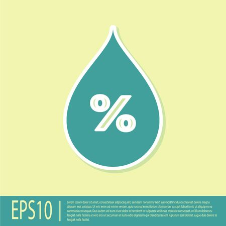 Green Water drop percentage icon isolated on yellow background. Humidity analysis. Flat design. Vector Illustration