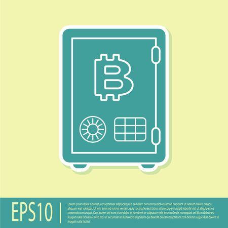 Green Proof of stake icon isolated on yellow background. Cryptocurrency economy and finance collection. Flat design. Vector Illustration