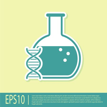 Green DNA research, search icon isolated on yellow background. Genetic engineering, genetics testing, cloning, paternity testing. Vector Illustration