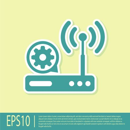 Green Router and wifi signal and gear icon isolated on yellow background. Adjusting app, service concept, setting options, maintenance, repair, fixing. Vector Illustration Illustration