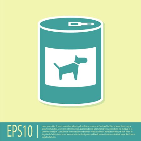 Green Canned food for dog icon isolated on yellow background. Food for animals. Pet dog food can. Vector Illustration
