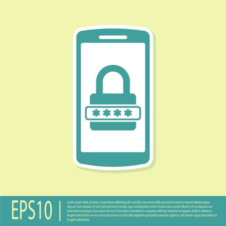 Green Mobile phone and password protection icon isolated on yellow background. Security, safety, personal access, user authorization, privacy. Vector Illustration