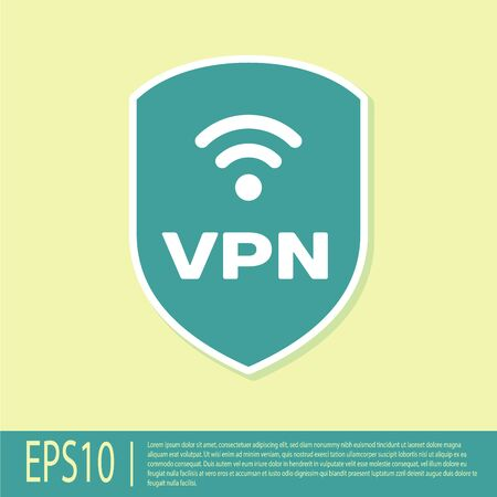 Green Shield with VPN and wifi wireless internet network symbol icon isolated on yellow background. VPN protect safety concept. Vector Illustration Illustration