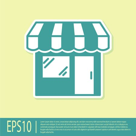 Green Shopping building or market store icon isolated on yellow background. Shop construction. Vector Illustration