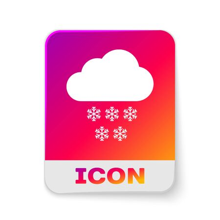 White Cloud with snow icon isolated on white background. Cloud with snowflakes. Single weather icon. Snowing sign. Rectangle color button. Vector Illustration Illustration