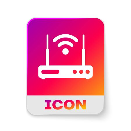 White Router and wi-fi signal symbol icon isolated on white background. Wireless ethernet modem router. Computer technology internet. Rectangle color button. Vector Illustration 矢量图像