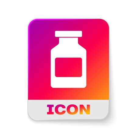 White Medicine bottle icon isolated on white background. Bottle pill sign. Pharmacy design. Rectangle color button. Vector Illustration Vettoriali