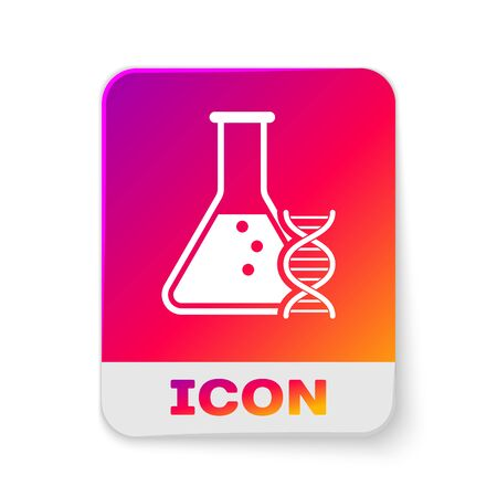 White DNA research, search icon isolated on white background. Genetic engineering, genetics testing, cloning, paternity testing. Rectangle color button. Vector Illustration