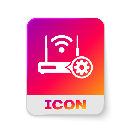 White Router and wi-fi signal and gear icon isolated on white background. Adjusting app, service concept, setting options, maintenance, repair, fixing. Rectangle color button. Vector Illustration Illustration