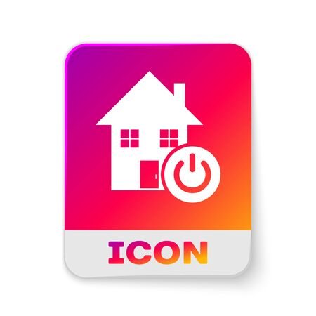 White Smart home icon isolated on white background. Remote control. Rectangle color button. Vector Illustration Çizim