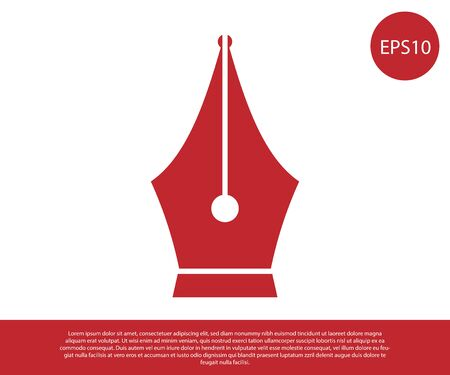 Red Fountain pen nib icon isolated on white background. Pen tool sign. Vector Illustration