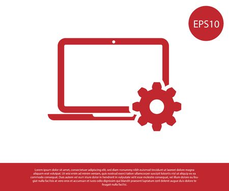 Red Laptop and gear icon on white background. Laptop service concept. Adjusting app, setting options, maintenance, repair, fixing laptop concepts. Vector Illustration