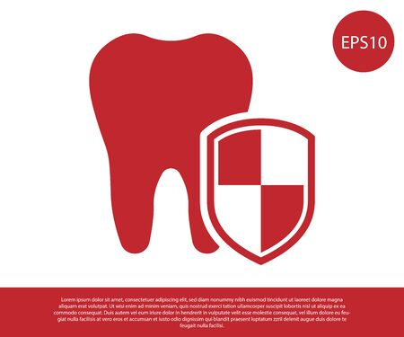 Red Dental protection icon isolated on white background. Tooth on shield logo. Vector Illustration