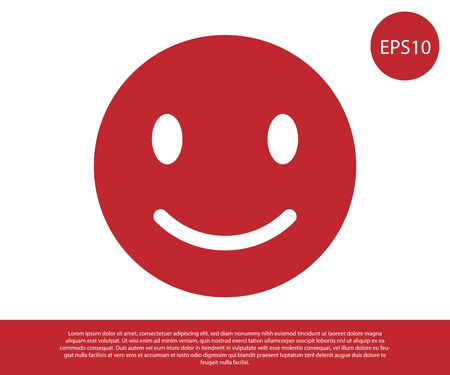 Red Smile face icon isolated on white background. Smiling emoticon. Happy smiley chat symbol. Vector Illustration