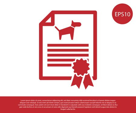 Red Medical certificate for travel with dog or cat icon isolated on white background. Document for pet. Dog or cat paw print. Vector Illustration