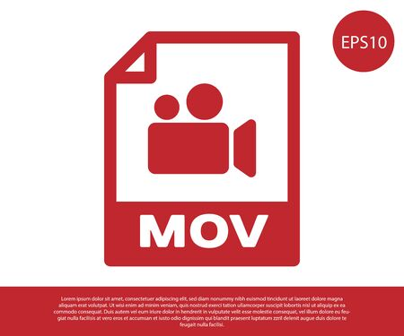 Red MOV file document icon. Download mov button icon isolated on white background. MOV file symbol. Audio and video collection. Vector Illustration 일러스트