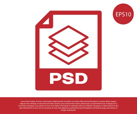 Red PSD file document icon. Download psd button icon isolated on white background. PSD file symbol. Vector Illustration