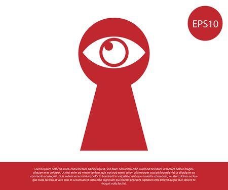 Ojo de la cerradura rojo con icono de ojo aislado sobre fondo blanco. El ojo mira por el ojo de la cerradura. Ojo de ojo de cerradura. Ilustración vectorial