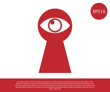 Red Keyhole with eye icon isolated on white background. The eye looks into the keyhole. Keyhole eye hole. Vector Illustration 向量圖像