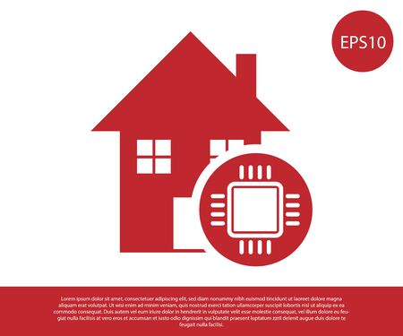 Red Smart home icon isolated on white background. Remote control. Vector Illustration