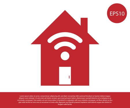 Red Smart home with wi-fi icon isolated on white background. Remote control. Vector Illustration