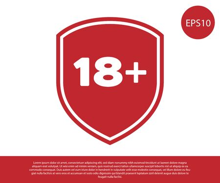 Red Shield with inscription 18 plus icon isolated on white background. Adults content only. Protection, safety, security, protect concept. Vector Illustration Vettoriali